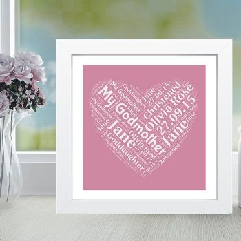 Framed Godmother Heart Word Cloud - Ideal for a Christening or Naming Day Gift